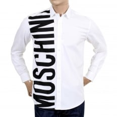 Mens Cotton White Long Sleeve Shirt with Logo in Large Black Fonts on the Front