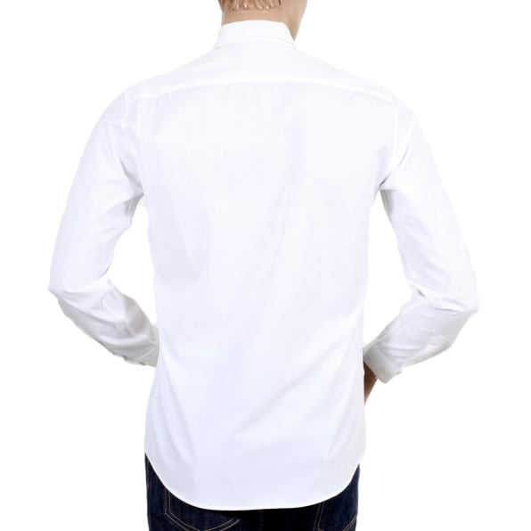 MOSCHINO Mens Cotton White Long Sleeve Shirt with Logo in Large Black Fonts on the Front