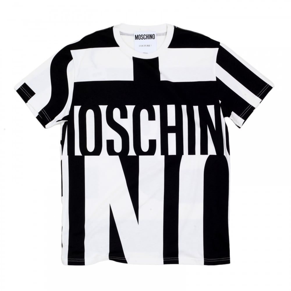 018720c2d9f6 MOSCHINO Mens Crew Neck Black and White Cotton Yankee Printed Logo Tshirt  in Regular Fit ...