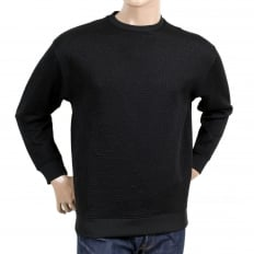 Mens Crew Neck Long Sleeve Regular Fit Black Sweatshirt with Stitched Text Jacquard Logo in Self-colour