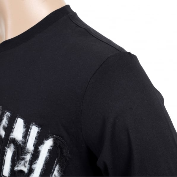 MOSCHINO Mens Crew Neck Regular Fit Long Sleeve Cotton Black T Shirt with Fur Logo