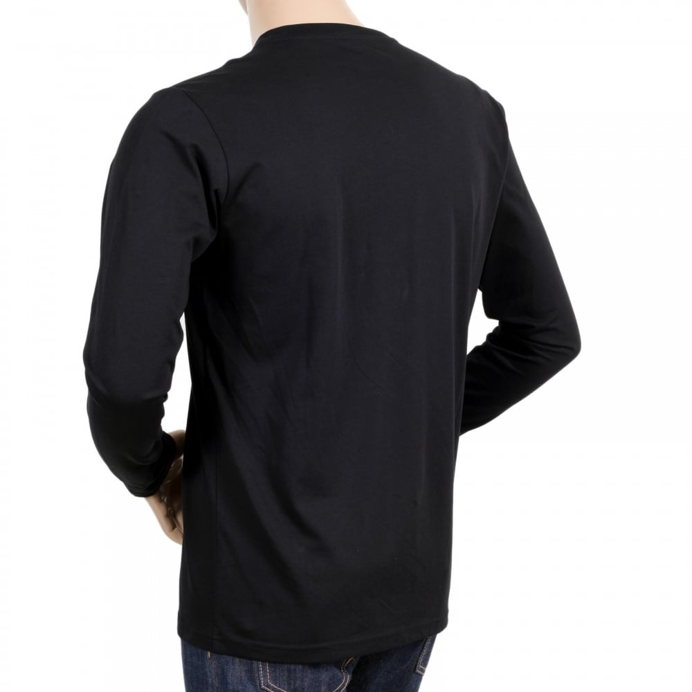 Long sleeve black t shirt with crew neck by moschino for Black fitted long sleeve t shirts