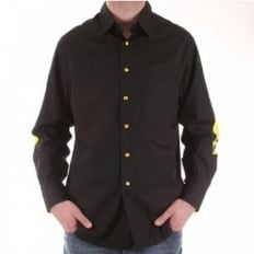 Mens long sleeve black printed shirt