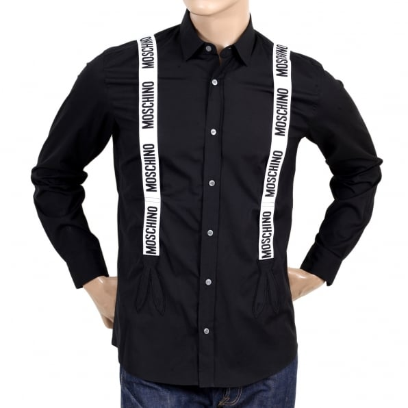 MOSCHINO Mens Long Sleeve Slim Fit Black Shirt with Soft Collar and Faux White Braces