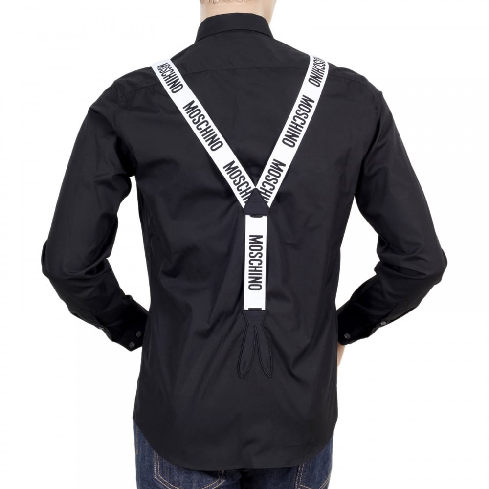 Shop For Slim Fit Black Shirt With White Faux Braces