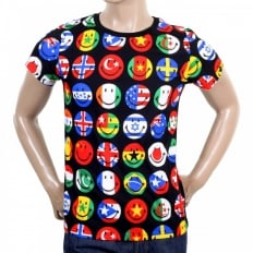 Mens Multi Color Printed Smiley Face World Flags Short Sleeve Crew Neck T-Shirt