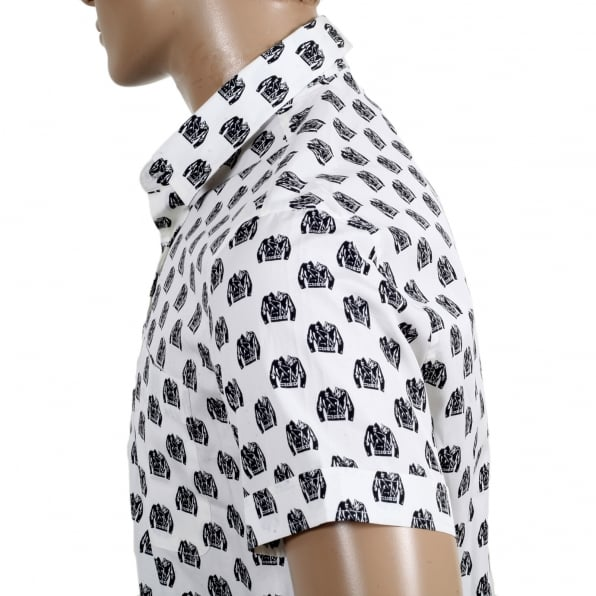 MOSCHINO Mens Short Sleeve Rounded Tail Regular Fit White Shirt with Jacquard Biker Jacket Print