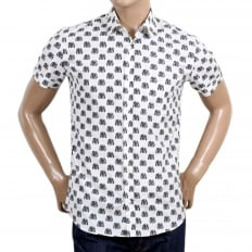Mens Short Sleeve Rounded Tail Regular Fit White Shirt with Jacquard Biker Jacket Print