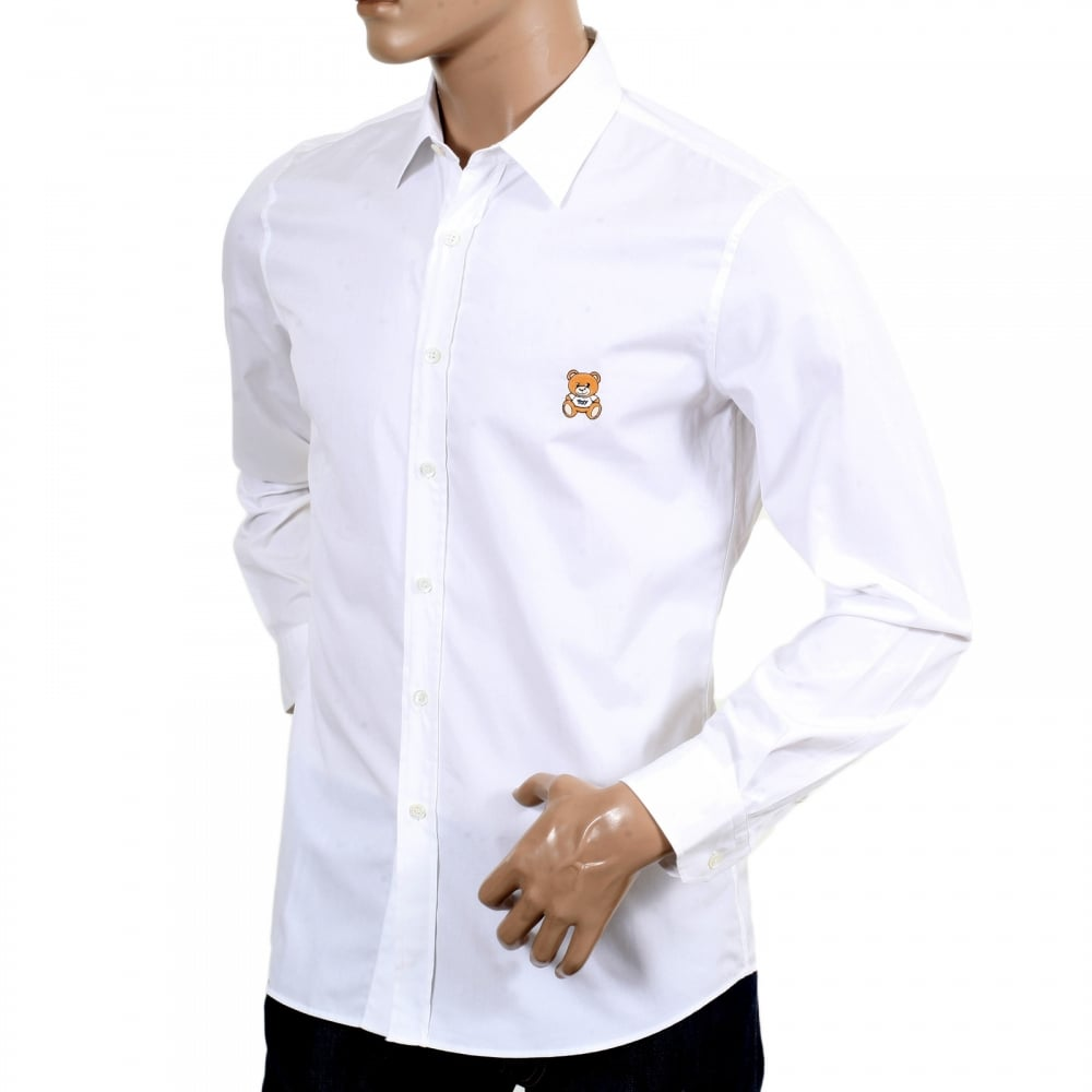 ... MOSCHINO Mens White Slim Fit Long Sleeve Shirt with Teddy Bear  Embroidered on Chest and Logo ...
