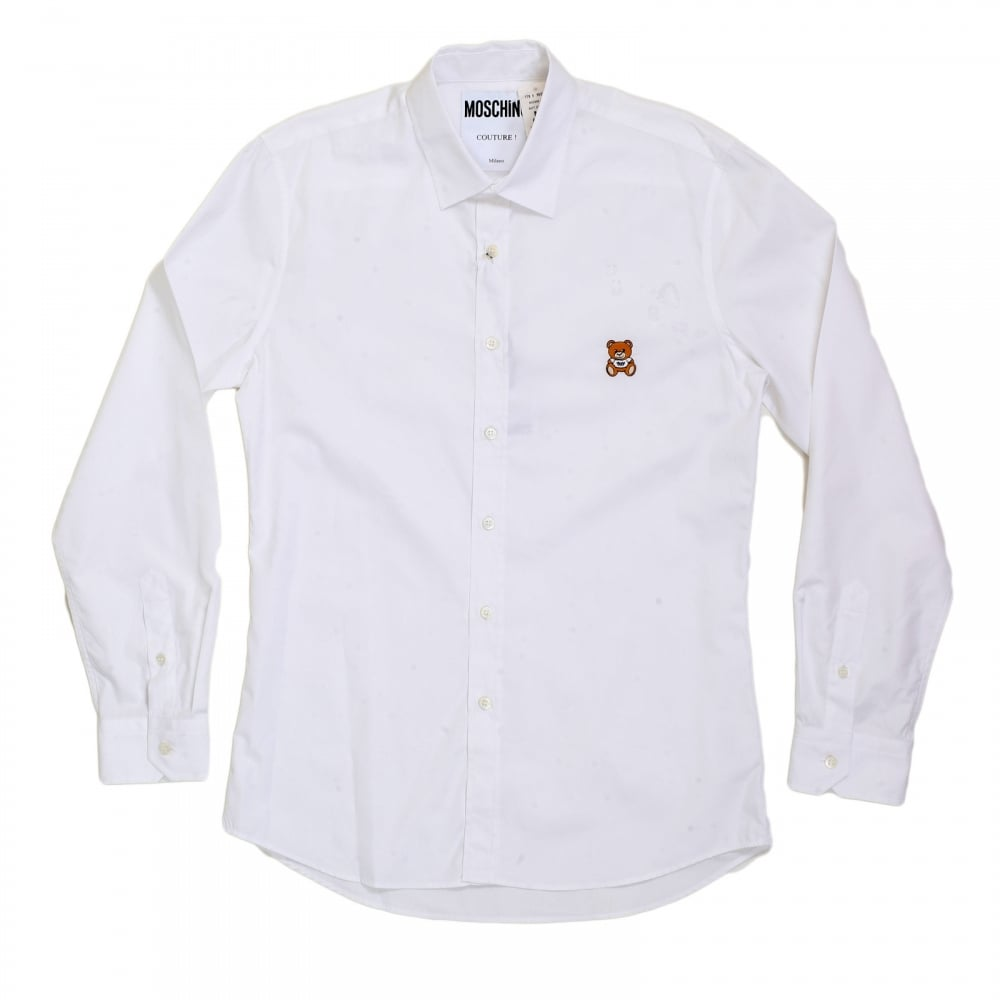 Shop for mens slim fit shirt in white by moschino for Mens slim white shirt