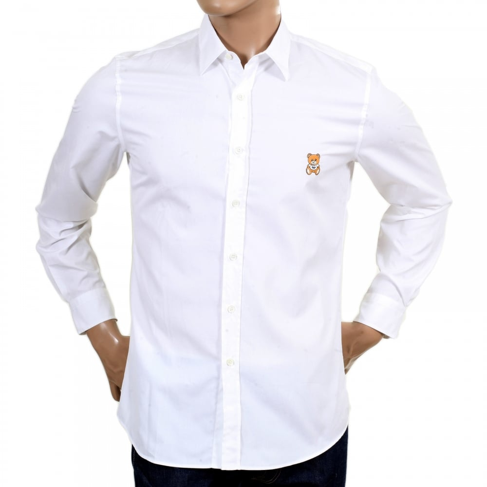 Shop for mens slim fit shirt in white by moschino for Mens long sleeve white shirts