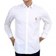 Mens White Slim Fit Long Sleeve Shirt with Teddy Bear Embroidered on Chest and Logo Embossed Buttons