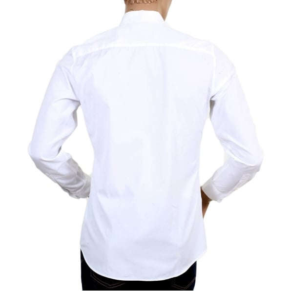 MOSCHINO Mens White Slim Fit Long Sleeve Shirt with Teddy Bear Embroidered on Chest and Logo Embossed Buttons
