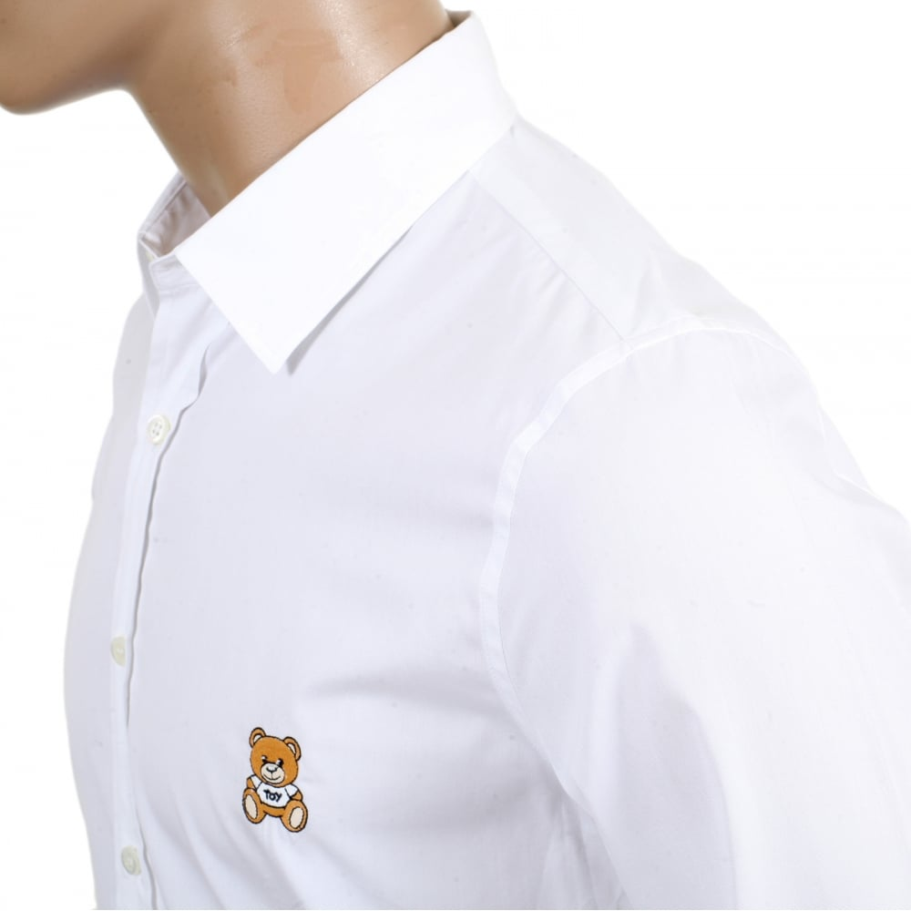 Shop For Mens Slim Fit Shirt In White By Moschino
