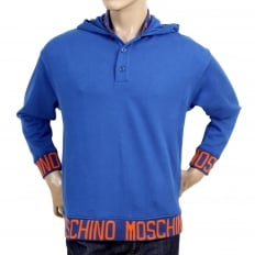 Regular Fit Blue Hooded Sweatshirt with Woven Orange Text Logo on Ribbed Collar, Waistband, and Sleeve Cuffs
