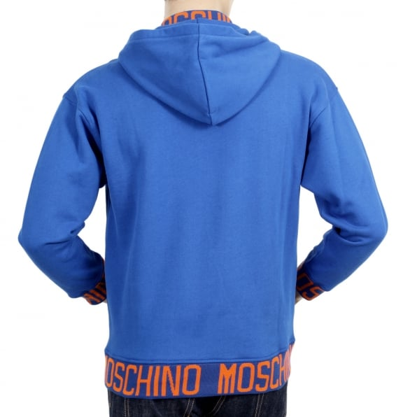 MOSCHINO Regular Fit Blue Hooded Sweatshirt with Woven Orange Text Logo on Ribbed Collar, Waistband, and Sleeve Cuffs
