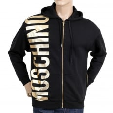 Regular Fit Front and Side Seam Zipped Black Hooded Sweatshirt for Men with Gold Text Logo