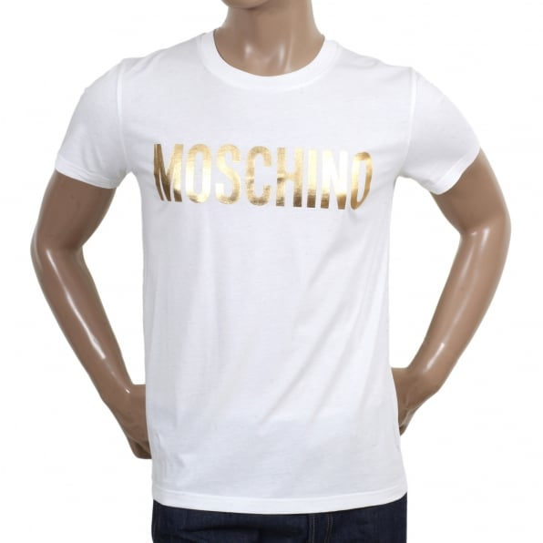 MOSCHINO Regular Fit Short Sleeve Fine Ribbed Crew Neck Cotton White T Shirt with Gold Logo