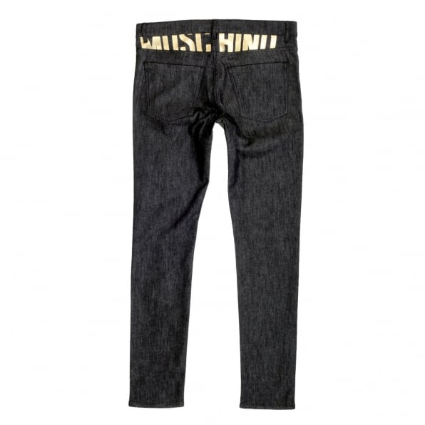 MOSCHINO Slimmer Fit Gold Logo Printed Washed Black Jeans with Gold Waistband Button and Rivets