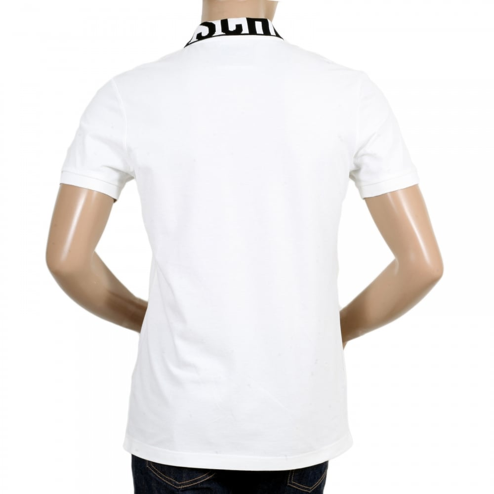 White logo polo shirts for men by moschino clothing for Three button collar shirts