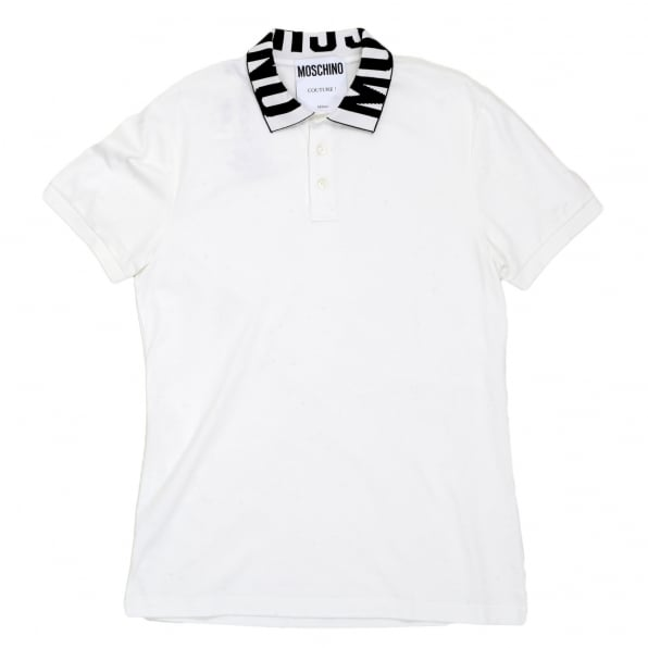 MOSCHINO White Regular Fit Three-Button Polo Shirt for Men with Black Logo Ribbed Collar