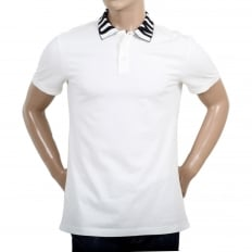 White Regular Fit Three-Button Polo Shirt for Men with Black Logo Ribbed Collar