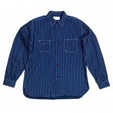 Navy Striped Wabash SC25551A Slim Fit Long Sleeve Work Shirt from Fiction Romance Collection by Sugar Cane
