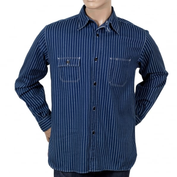 SUGAR CANE Navy Striped Wabash SC25551A Slim Fit Long Sleeve Work Shirt from Fiction Romance Collection by Sugar Cane