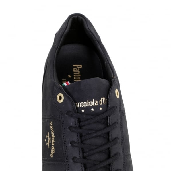 PANTOFOLA D'ORO Hand Crafted 3510056 Mens Teramo Uni Low Trainers in Black Leather with Black Lace