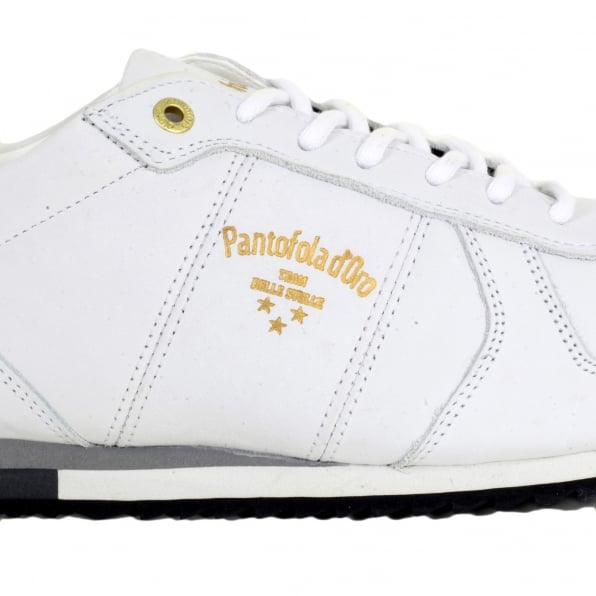 PANTOFOLA D'ORO Hand Crafted 3510056 Mens Teramo Uni Low Trainers in Bright White Leather with White Lace