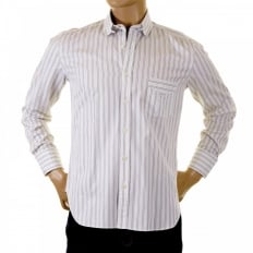 Khaki and White Striped Shirt