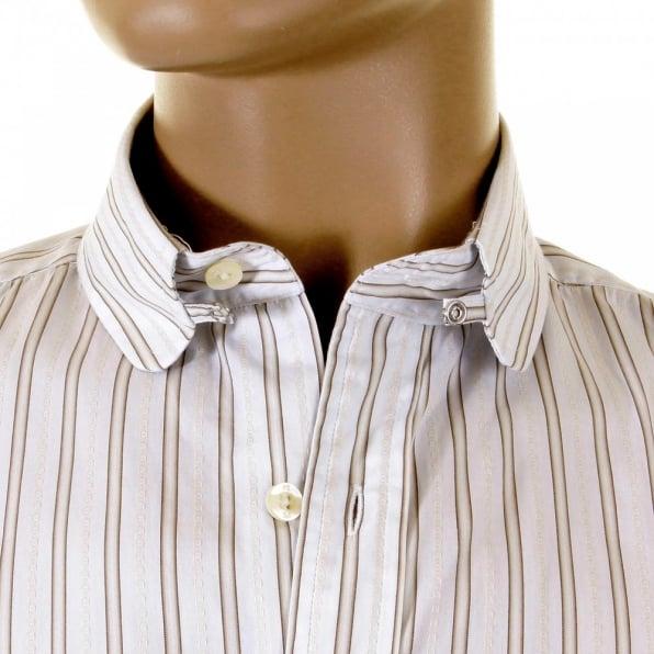 PAUL SMITH Khaki and White Striped Shirt
