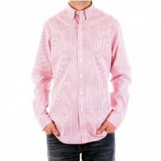 Regular Fit Long Sleeve Pink/White Check Shirt