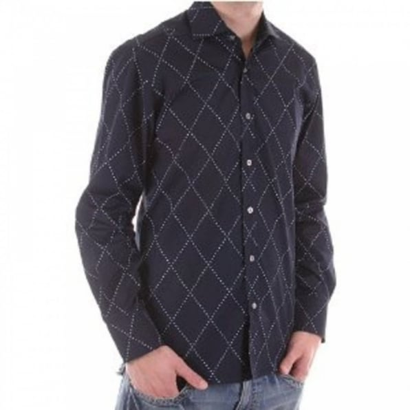PRINGLE Long sleeve dark navy shirt
