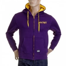 Purple Hooded Zipped Regular Fit Sweatshirt