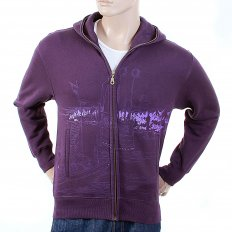 Purple Large Fitting Zipped Front Hooded Mens Sweatshirt