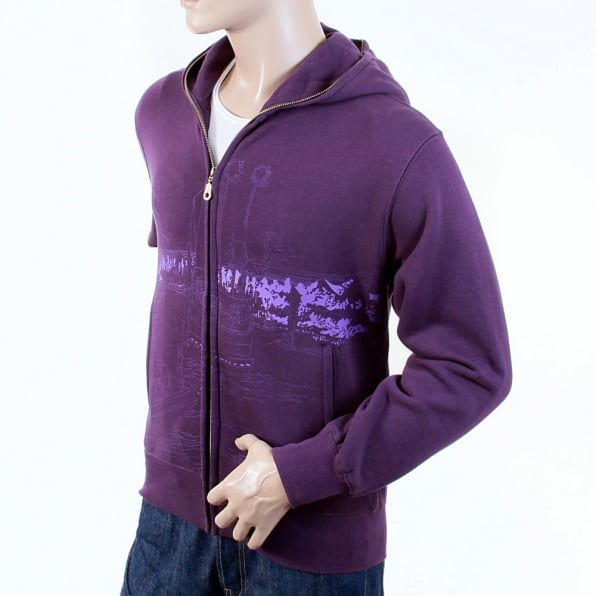 RMC JEANS Purple Large Fitting Zipped Front Hooded Mens Sweatshirt