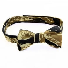 Rare Vintage Tiger Tea Camo Cotton Bow Tie for Men