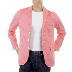 Red and White Fine Check Slimmer Fit Cotton Lightweight Jacket