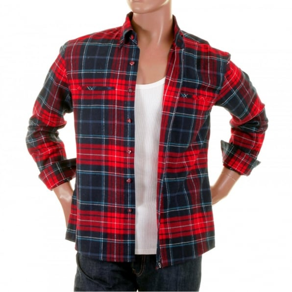 RMC MKWS Red Check Button down Collar Long Sleeve Regular Fit Shirt