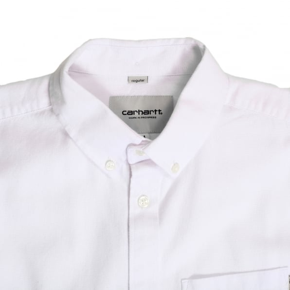 CARHARTT Regular Fit Classic Long Sleeve White Dalton Oxford Flannel Shirt with Soft Button Down Collar by Carhartt