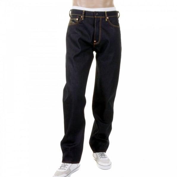 RMC JEANS 100% Cotton Slim Cut Dark Indigo Raw Denim Jeans