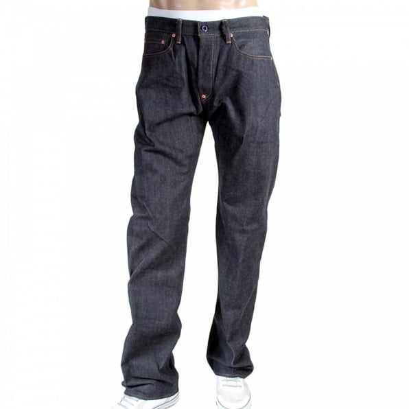 RMC JEANS 1001 Model Japanese Indigo Selvedge Raw Denim Jeans for Men with Green Embroidered Lucky Horse