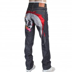 1001 Model Japanese Indigo Selvedge Raw Denim Jeans for Men with Silver and Red Embroidered Hungry Dragon