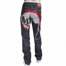 RMC JEANS 1001 Model Japanese Indigo Selvedge Raw Denim Jeans for Men with Silver and Red Embroidered Hungry Dragon