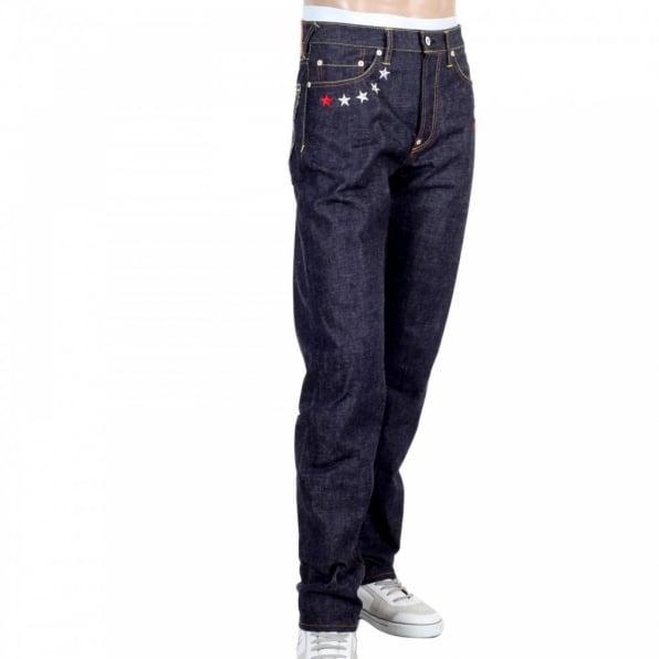 RMC JEANS 4A Version 1 Regular Classic Slim Model Indigo Raw Japanese Selvedge Embroidered Denim jeans