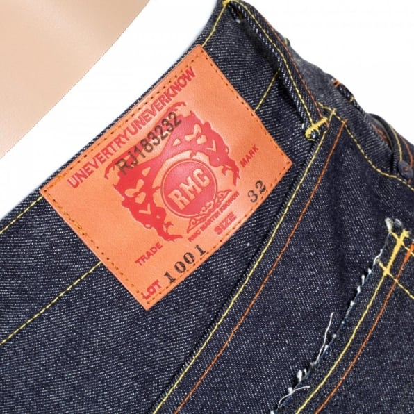 RMC JEANS 4A Version 1 Regular Classic Slim Model Selvedge Raw Denim Jeans with Black Embroidery