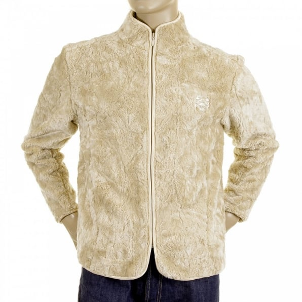RMC JEANS Beige Faux Fur Regular Fit High Collar Jacket