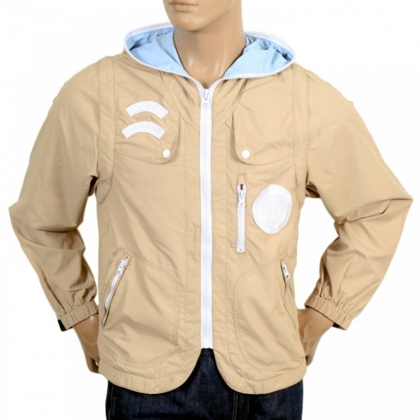 RMC JEANS Beige Reversible Zipped Removable Sleeves Hooded Gilet