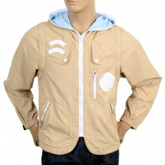 Beige Reversible Zipped Removable Sleeves Hooded Gilet